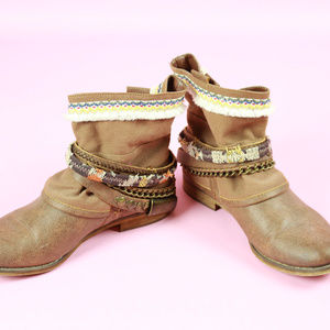 Tan Leather Belted Tribal Ankle Boots